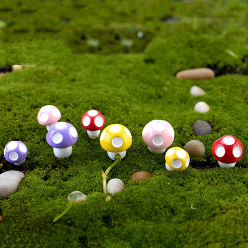 10pcs Random color Mini Mushroom Garden Ornament Resin Crafts ...