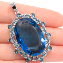 Long Big Gemstone 30x20mm Oval London Blue Topaz Woman's Silver Pendant 51x31mm