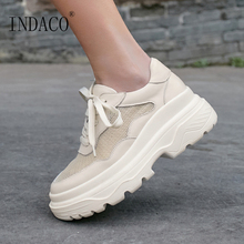 Women Sneakers Platform Beige Leather Fashion 2019 Casual Shoes 6cm 34-39