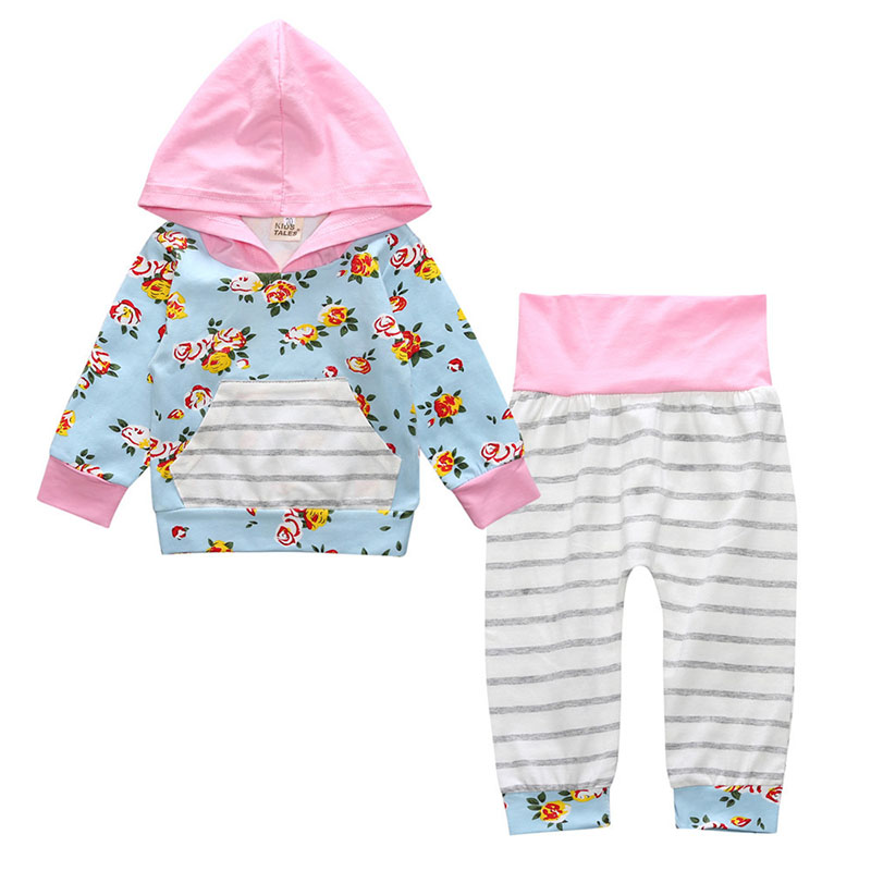 Autumn Baby Girls Hooded Sweat Long Sleeve Shirt Tops+Floral Pants Outfits Set