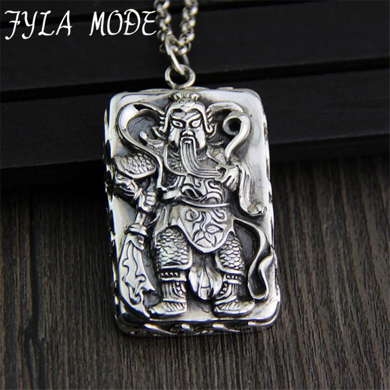 FYLA MODE S925 Sterling Silver Antique Thai Silver Carving Guan Yu Pendant Necklace Mammon Lucky Amulet Gift For Men JewelleryFYLA MODE S925 Sterling Silver Antique Thai Silver Carving Guan Yu Pendant Necklace Mammon Lucky Amulet Gift For Men Jewellery