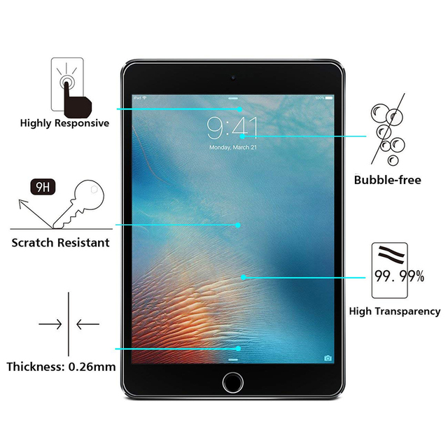 Tempered Glass For iPad 2017 2018 9.7 Screen Protector For iPad Air 1 2 mini 3 4 5 Protective Film For iPad Pro 11 2020 10.5 9.7 1