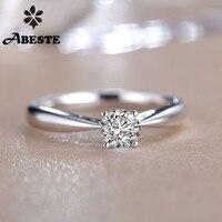 ANI 18K Solid White/Yellow/Rose Gold (AU750) Women Wedding Ring 0.2 CT Certified Round Natural Diamond Ring Engagement anillo