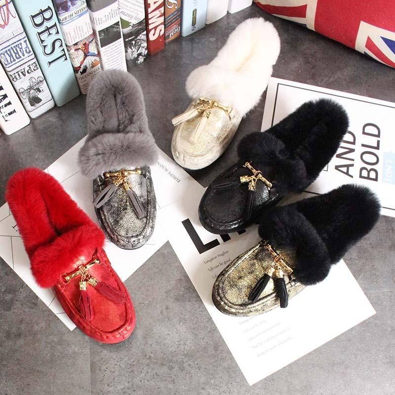 Europe Couleurs Hiver Talons A Cream Plat Artificielle cream A black Style B De Femmes gray Automne B Pois B Chaud gold Gland Fourrure 5 amp; Chaussures rtqrZwA