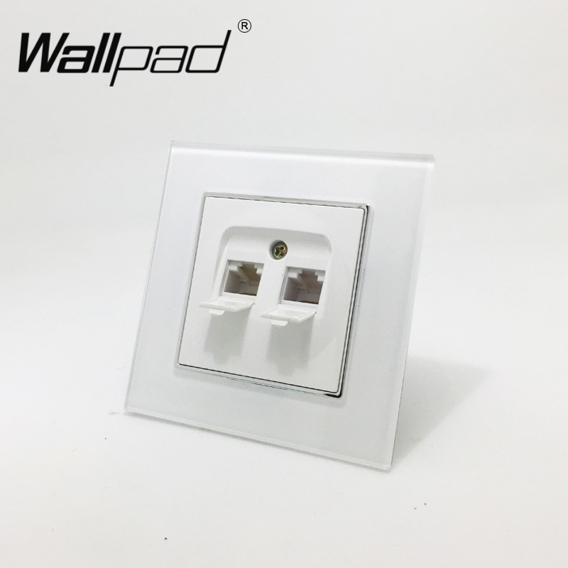 Double RJ45 Cat6 Data Socket Wallpad White Glass Panel EU European Double Data Internet Computer Jack RJ45 Wall Socket with ClawDouble RJ45 Cat6 Data Socket Wallpad White Glass Panel EU European Double Data Internet Computer Jack RJ45 Wall Socket with Claw