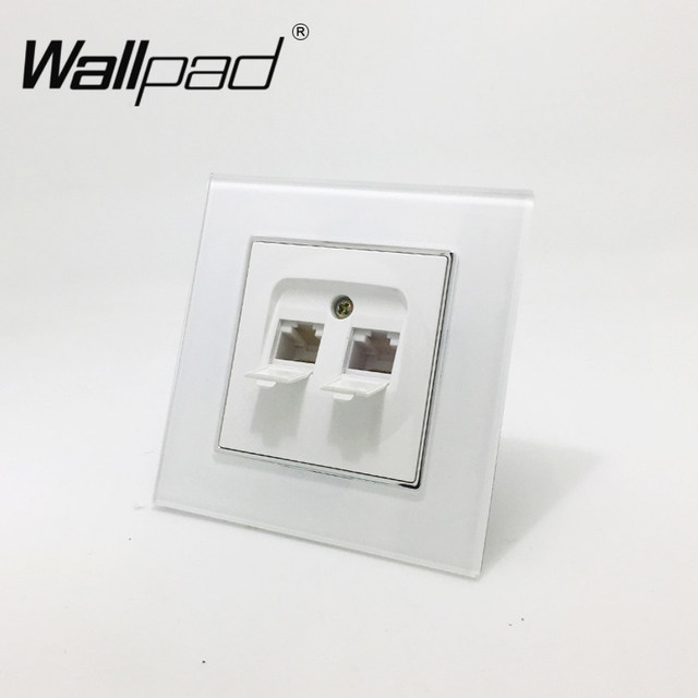 Online Shop Double RJ45 Data Socket Wallpad White Glass Panel EU ...