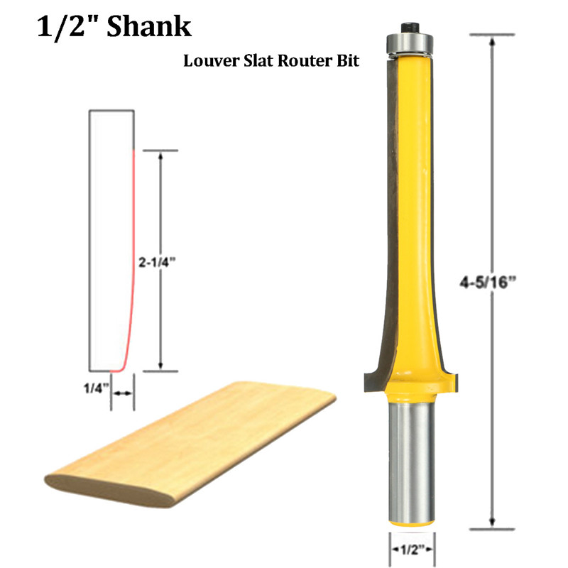 Steel Louver Slat Woodworking Cutter Milling Router Bit - Medium - 1/2'' Shank Wood Cutting Tool woodworking 1 2 shank 2 1 4 diameter bottom cleaning router bit mayitr high precision woodworking milling cutter cutting tools for mdf
