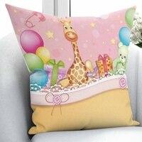 Innego żółty żyrafa zabawki różowy zielony balon 3D druku z mikrofibry rzuć poszewka na poduszkę poszewki na poduszki plac ukryty zamek 45x45 cm w Poszewka na poduszkę od Dom i ogród na