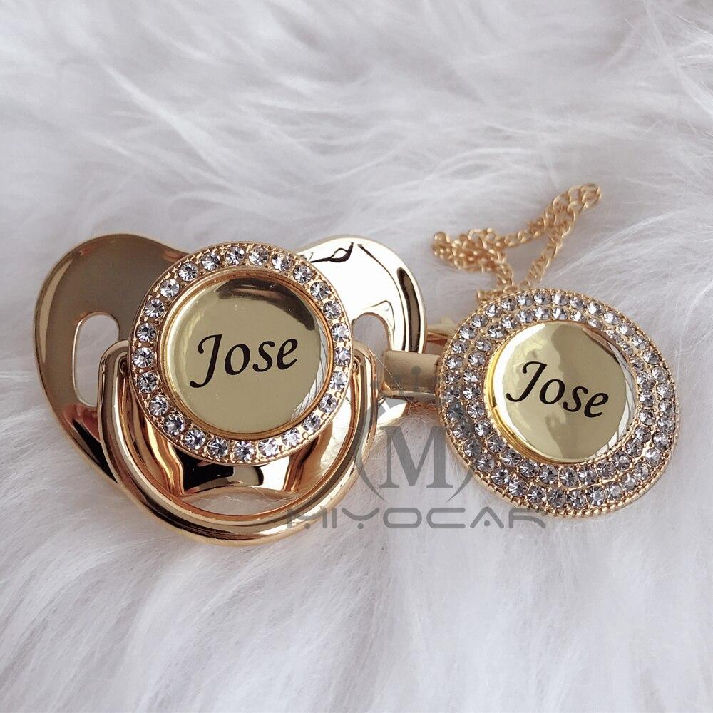 Miyocar personalizado qualquer nome pode fazer ouro bling chupeta e chupeta clipe bpa manequim livre bling design original p8