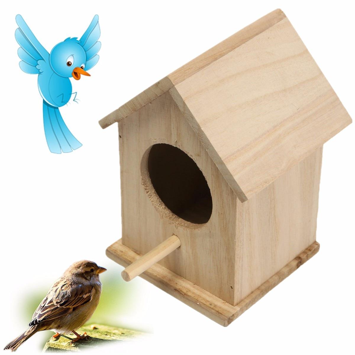 Wood birds box nest new diy breeding parrot cockatiels for Diy bird house