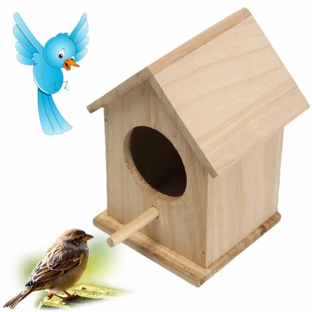Wood Birds Box Nest New DIY Breeding Parrot Cockatiels Swallows Nest Outdoors Roof Wooden Bird House Hanging Decoration