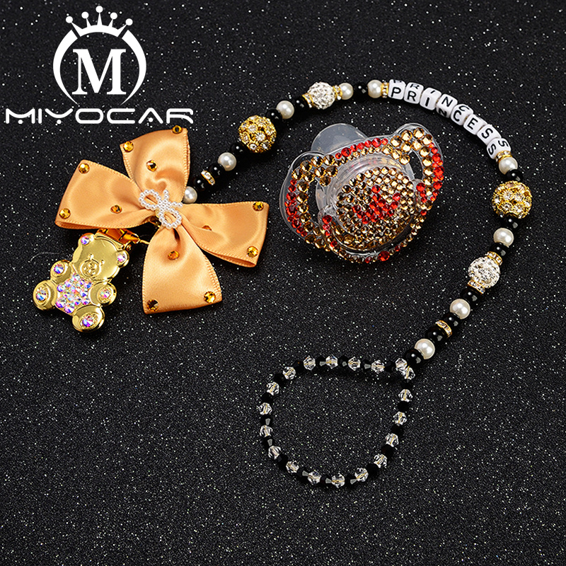 Купить с кэшбэком MIYOCAR custom name bling heart pacifier clip personalized pacifier holder dummy clip with bling pacifier set unique gift SP015
