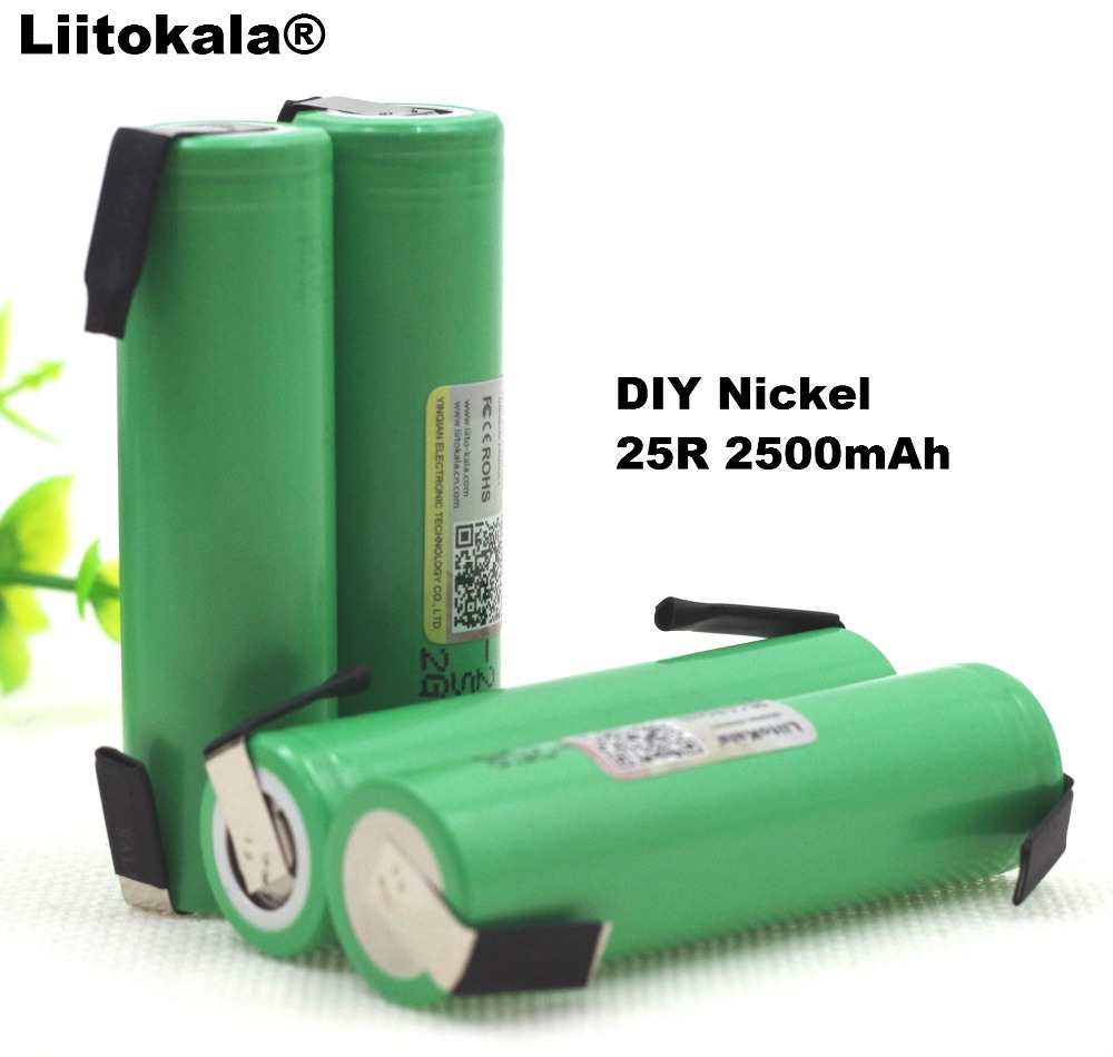 4PCS Liitokala 18650 25R 2500mAh lithium battery 20A continuous discharge power electronic battery for Samsung+DIY Nickel sheets 1pcs for samsung original 18650 25r inr1865025r 20a discharge lithium batteries 2500mah electronic cigarette power battery