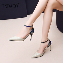 High Heels Shoes Woman Leather Pumps Women Ankle Strap Fashion Sexy 2019 7.5cm