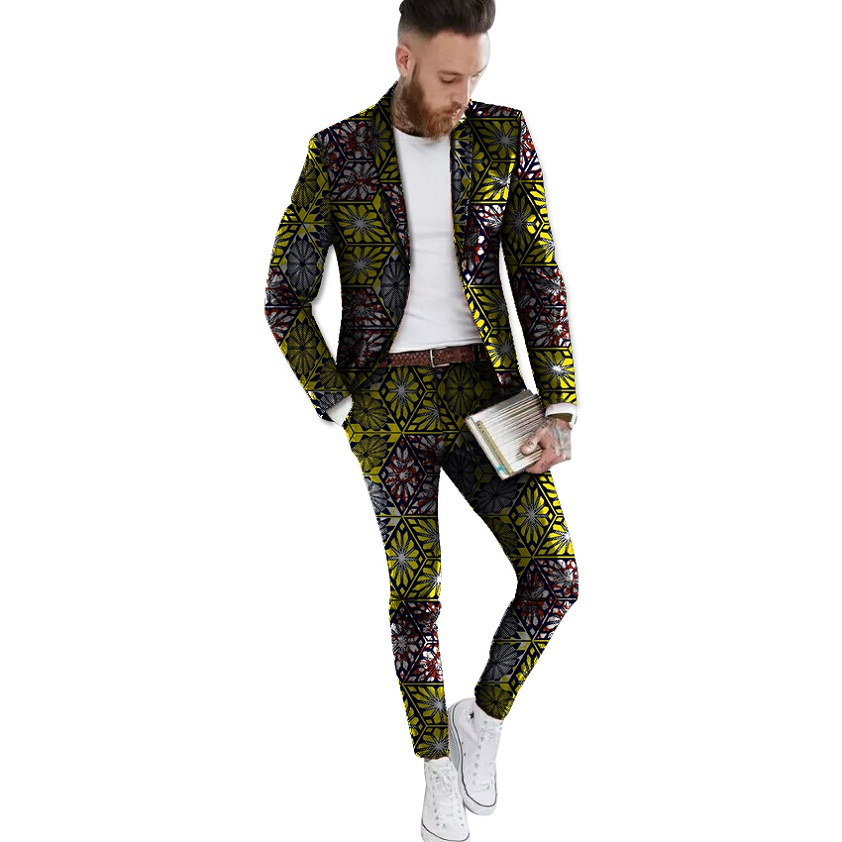 Fashion African Men Clothing Dashiki Print Suit Jacket And Pants Men Blazers African Formal Man Blazer For Party Customized