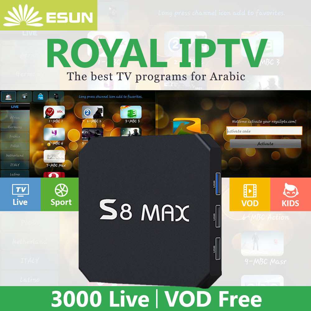 S8 MAX Android TV BOX Android 8.1 TV BOX 4/32G With 1 Year RoyalTV Configured Arabic Europe IPTV set top box royal iptv 1 year iptv included m92s note s912 android 6 0 tv box 2 16g royaltv configured arabic europe iptv android tv box