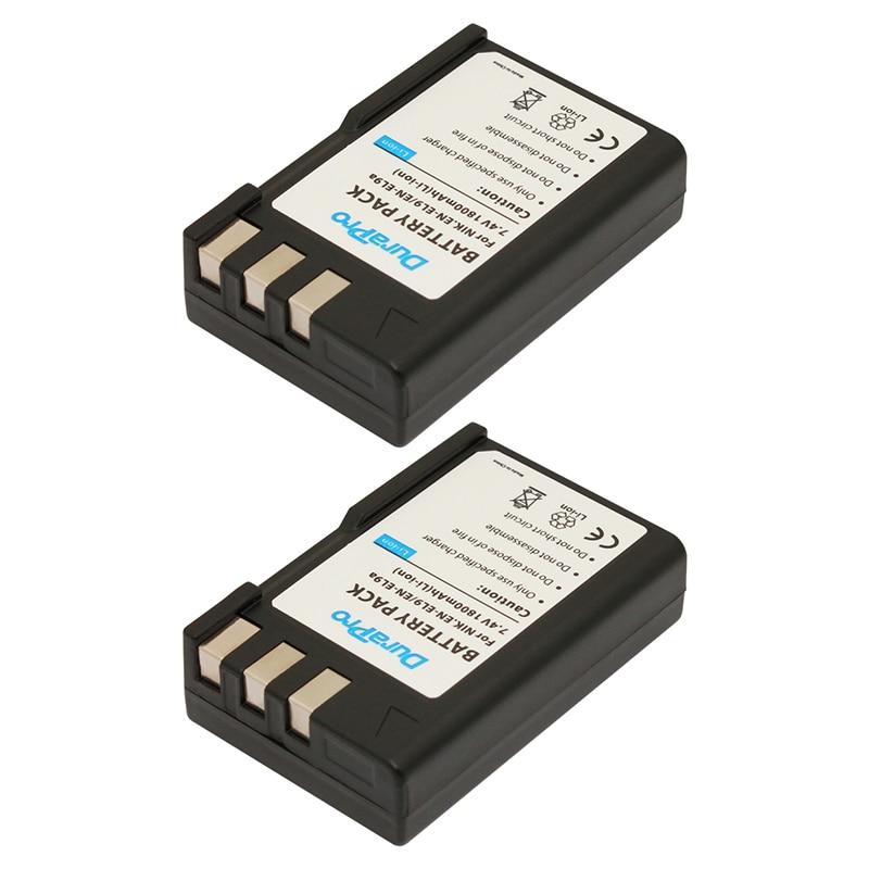 Durapro 2 Pcs EN-EL9A EN EL9A ENEL9A Li/Lithium Rechargeable Batterie Pack pour Nikon D60 D40 D40X D5000 D3000 EN-EL9 MH-23 bateria