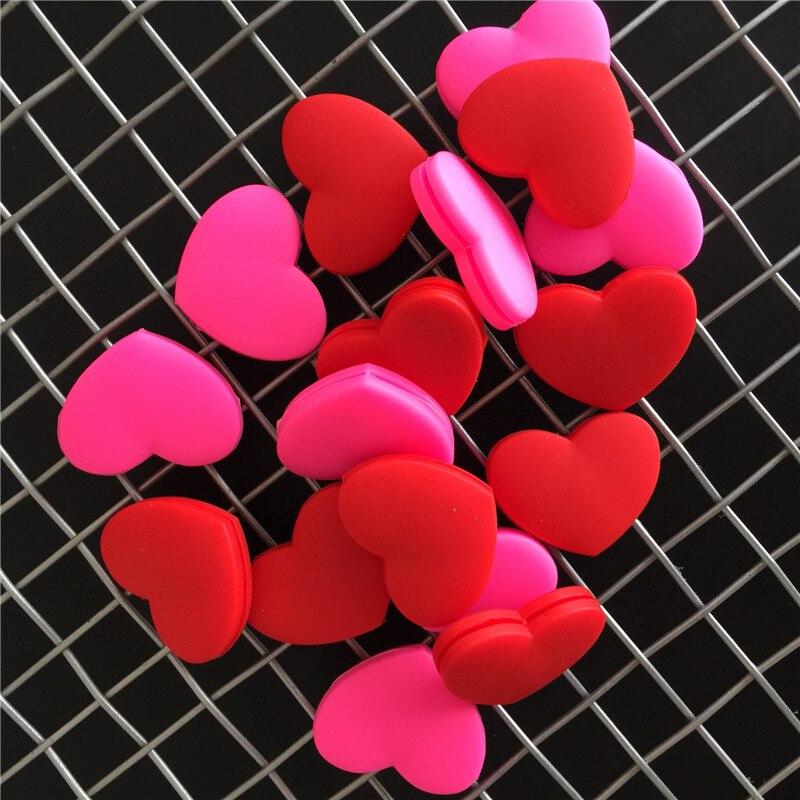 3Pcs/Set Red Heart-Shaped Tennis Racket Damper Shock Absorber Tennis Racquet Vibration Dampeners
