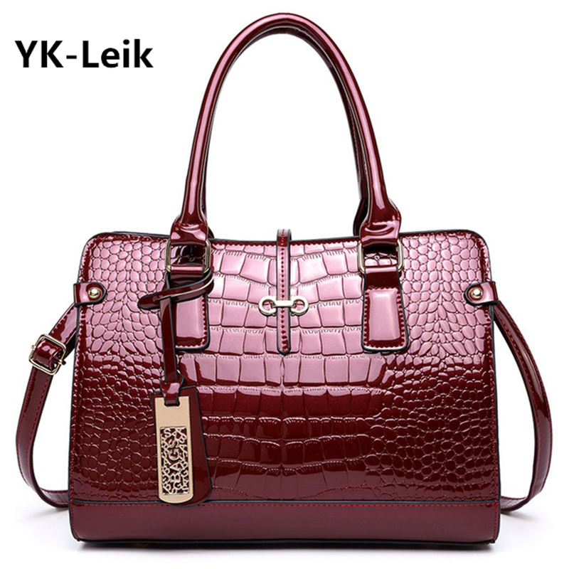 YK-Leik spring large-capacity women handbag High quality patent leather crocodile elegant ladies shoulder bag for business paty 2016 fashion spring and summer crocodile pattern japanned leather patent leather handbag one shoulder cross body bag for women