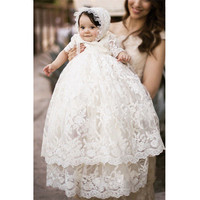 New Royal Noble Short sleeved Double layer Long Full Lace Christening Dress Custom Made Baby Baptism Clothing Baby Photo Props