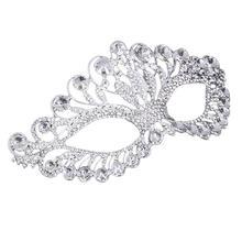 Роскошные элегантные бриллиантовые стразы маска маскарадные вечерние украшения корона маска сплав для женщин вечерние аксессуары для декора(серебро