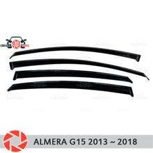Окна отражатель для Nissan Almera G15 2013-2019 Дождь Отражатель грязь защиты Тюнинг автомобилей украшения аксессуары для литья