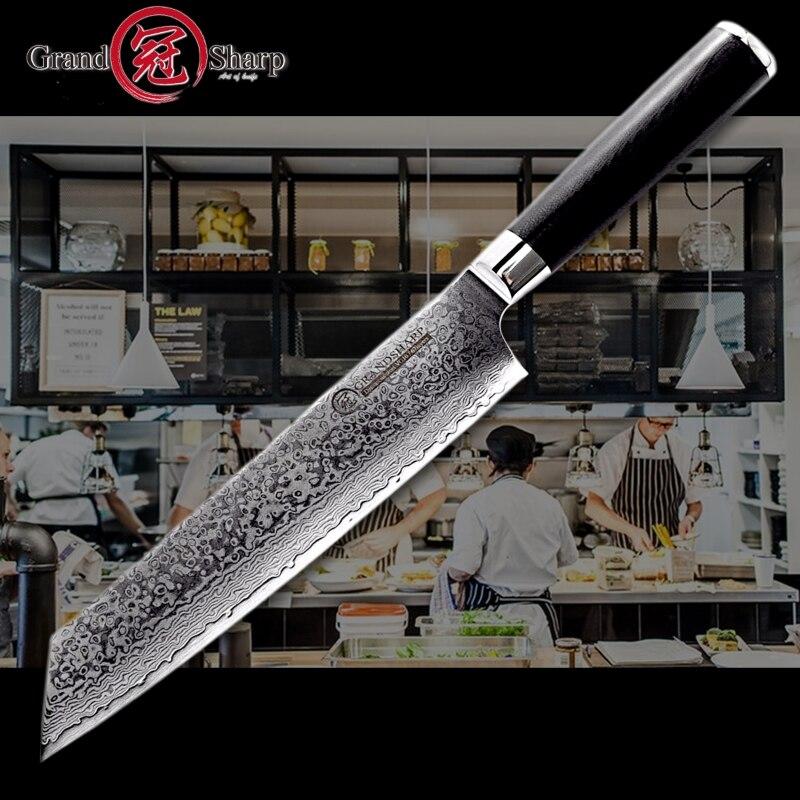 2018 다마스커스 요리사 칼 8.2 인치 vg10 다마스커스 강철 일본 부엌 칼 g10 손잡이 면도칼 날카로운 일본 다마스커스 잎 새로운-에서주방 칼부터 홈 & 가든 의  그룹 1