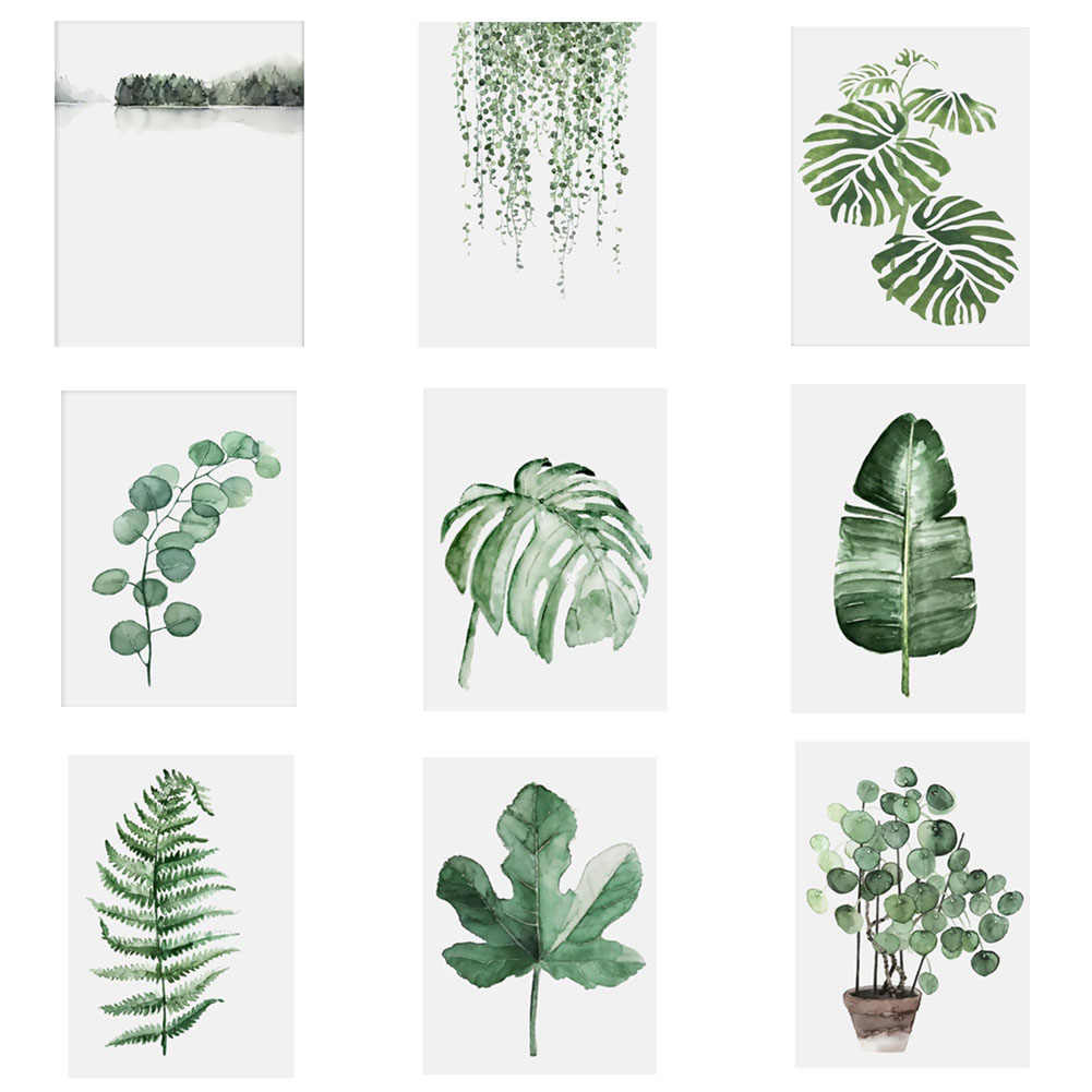 Nordic Tropical Nature Plant Leaves Minimalist Art Canvas Poster Painting Wall Picture Modern Home Office Room Decoration