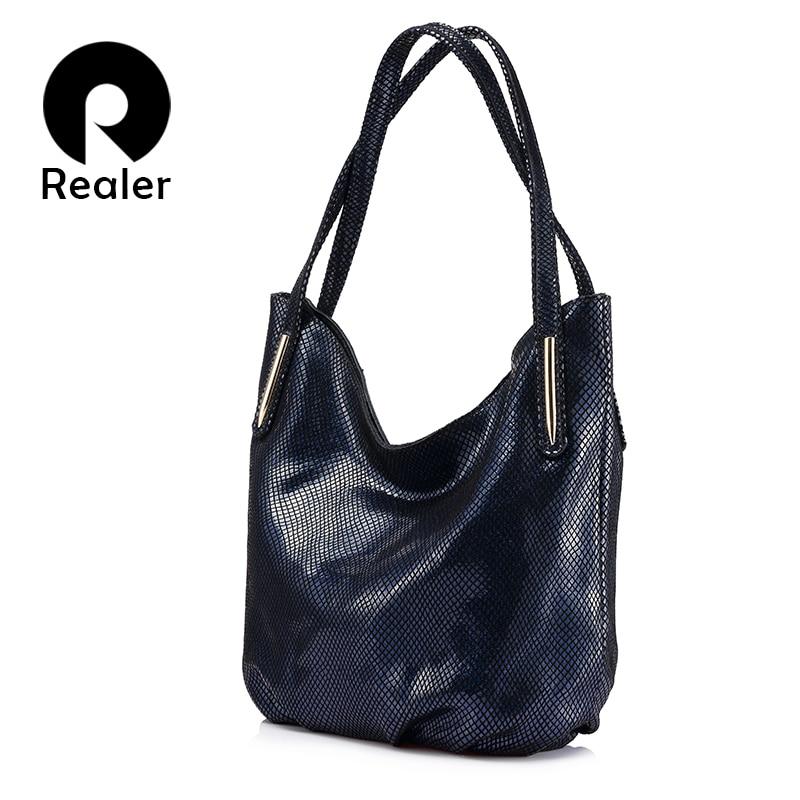 REALER brand woman handbag women genuine leather shoulder bag female serpentine print handbag hign quality zipper