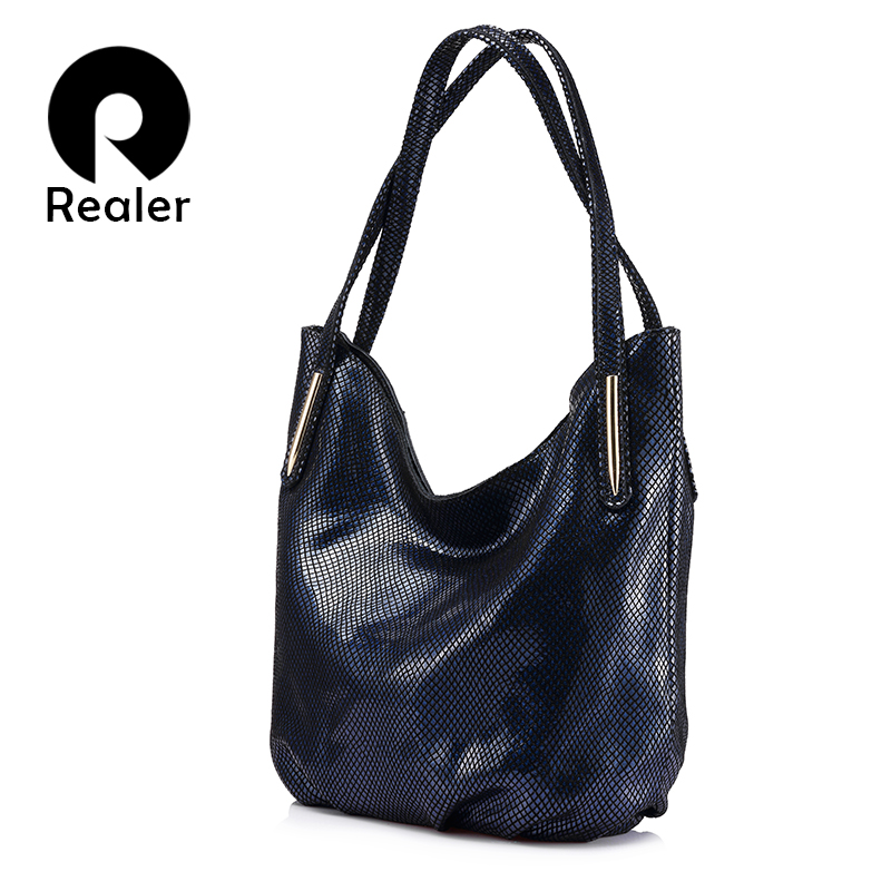 REALER brand woman handbag women genuine leather shoulder bag female serpentine print handbag hign quality zipper messenger bag yuanyu 2018 new hot free shipping python skin women handbag single shoulder bag inclined female bag serpentine women bag