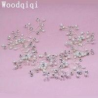 Woodqiqi Rhinestone Bridal Hair Vine Handmade Wedding Comb Flower Women Jewelry Accessories Pearl Trendy Headbands Headwear