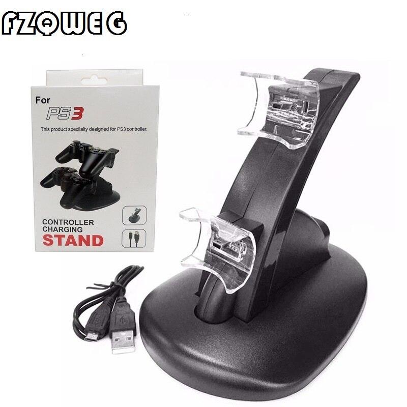 FZQWEG LED Lumière Double USB Propulsé Charging Dock pour PS 3 contrôleur Pour Sony PlayStation 3 PS3 Controller Support à chargeur