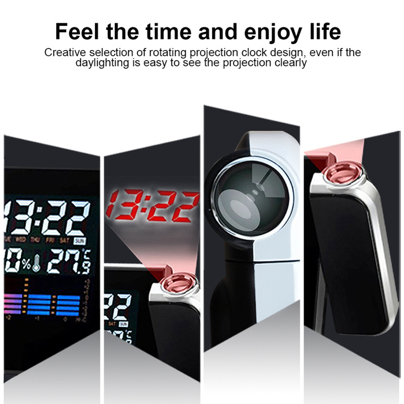 Upgrade time Digital Desk Alarm Clock Degrees Rotating Projection Multi function Display Time Electronic Clocks calendar time in Alarm Clocks from Home Garden