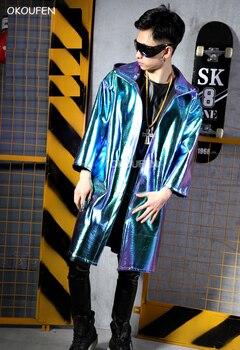 Fashion Male singer long coat costumes Green Laser PU Cool Jacket nightclub bar hairdresser stage singer DJ dance wear