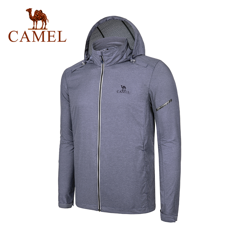 CAMEL Hooded Windbreaker Men Outdoor Thin Jacket Summer Autumn Breathable Lightweight Casual Outdoor Sports Hiking Jacket