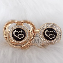 MIYOCAR Gold silver lovely two heart beautiful Gold bling pacifier and pacifier clip BPA free dummy bling unique design GH-08