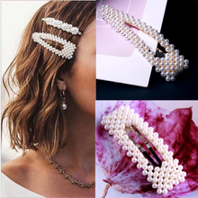 2 style Fashion Women Pearl Hair Clip Snap Hair Barrette Stick Hairpin Hair Styling Accessories For Women Girls Dropshipping
