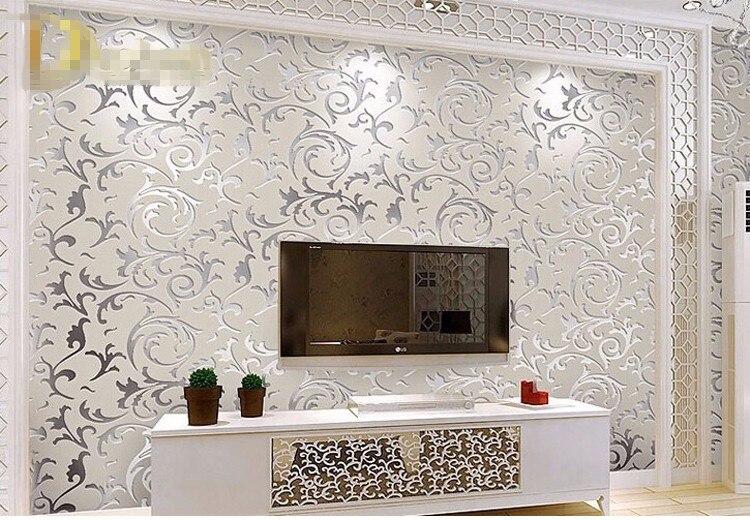 Europäischen Stil Vliestapete Klassischen Tapeten Rolle Lila/grau  Wandbekleidung Luxus Tapeten Blumen Papel De Parede