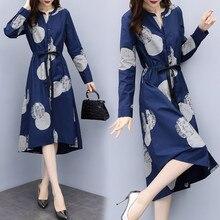 Vestido de manga larga pinta Cutton cinturón suelto Retro Vintage vestido Casual botón cierre cómodo primavera verano Mujer vestido
