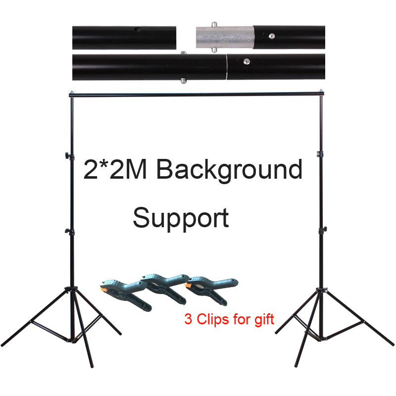Photo Studio 2 2M Aluminum Background Photo Backdrop Support System Stands Photography Kit with Carry Bag