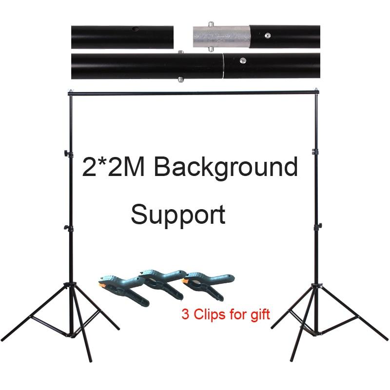 Foto studija 2 * 2M aliuminio fono nuotrauka Fotoaparato palaikymo sistema stovi fotografavimo rinkinys su nešiojimo maišų spaustukais