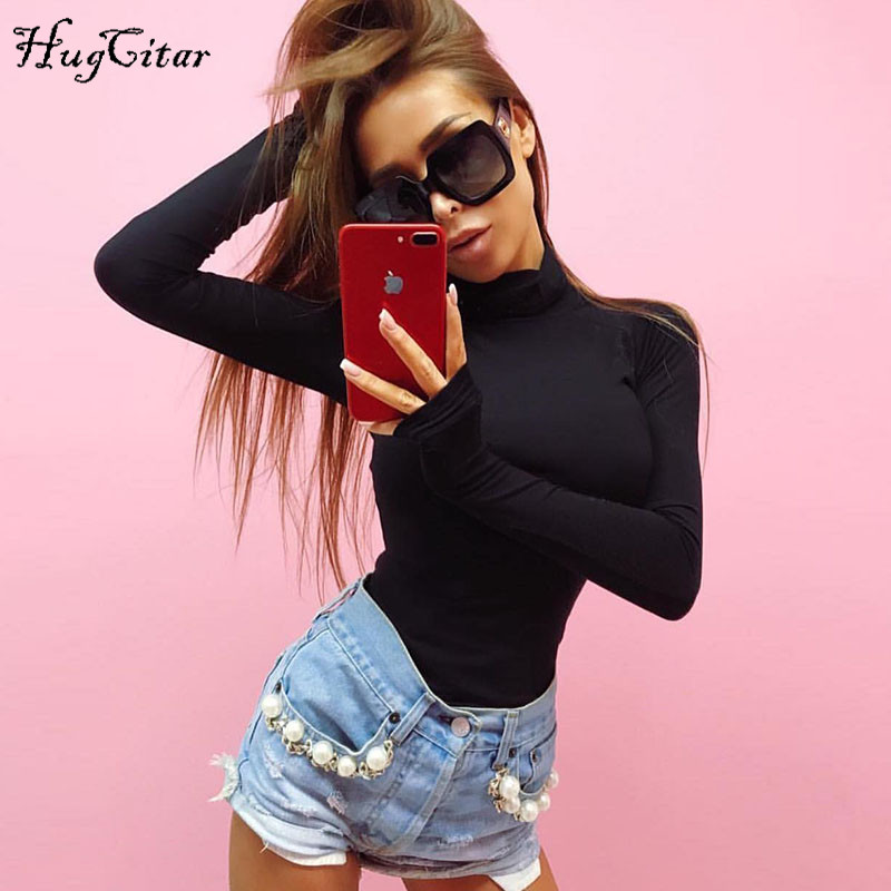 Hugcitar Cotton Long Sleeve High Neck Skinny Warm Bodysuit 2019 Autumn Winter Women Black Gray Solid Sexy Slim Fit Body Suit