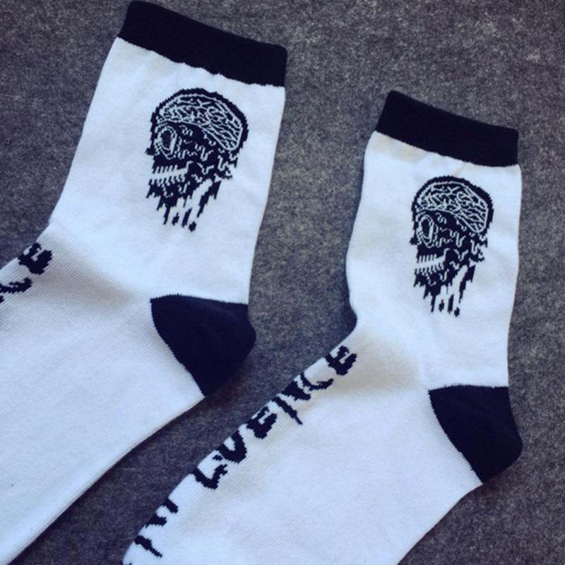 Skull Logo funny socks Fashion Harajuku Happy mens Unisex Sock novelty high quality non-slip white socks calcetines divertidos