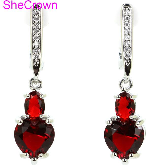 SheCrown Heart Shape Red Blood Ruby Gift For Sister Silver Earrings 34x8mm in Earrings from Jewelry Accessories