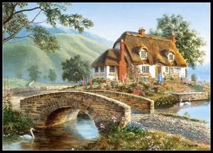 Image 2 - Embroidery Counted Cross Stitch Kits Needlework   Crafts 14 ct DMC Color DIY Arts Handmade Decor   Landscape 256x182