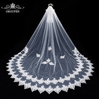 Exquisite 3D Floral Appliques Lace Wedding Veils 2018 White Tulle Long Cathedral Train Bridal Women Hair Accessories For Bride