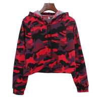 Camouflage Women Long Sleeve Midriff-baring Short Hoodie Top Thickened Pullover