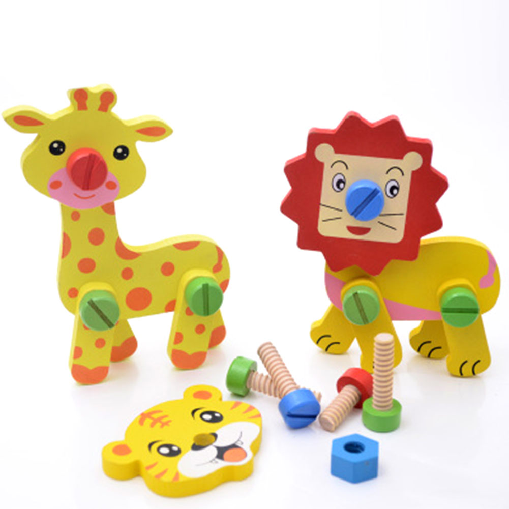 3D Puzzle Jigsaw Wooden Toys For Children Cartoon Animal ...