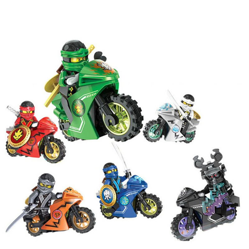 1ps Ninja Heroes Kai Jay Cole Zane Nya Lloyd Motorcycle With Weapons Building Blocks Figure Compatible Legoinglys Ninjagoinglys #3