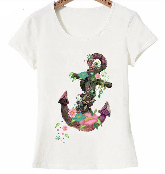 T Shirt imprim Floral ancre color 2019 nouveau t femmes t shirt femme d contract hauts
